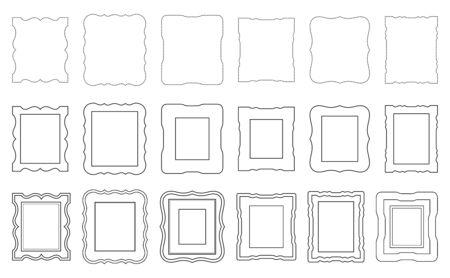 Set of various black carved frames. Solid line, dashed line. Çizim
