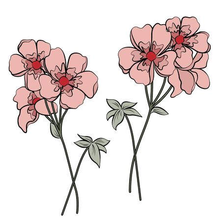 Abstract pink flowers on white background. Retro style.