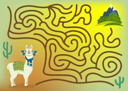 Maze game for kids and adults. Help cute llama to get to green meadows with his favorite bushes. 向量圖像