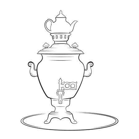 Samovar, a metal container traditionally used to heat and boil water in Russia. Samovars usually have a ring-shaped attachment to hold and heat a teapot. Black and white sketch of samovar and teapot. Coloring page for kids and adults.