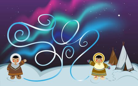 Maze game for kids. Northern people characters in ethnic winter clothes. Polar night background with North native dwellings, dark starry sky, polar lights.