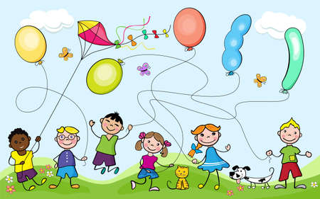 Kids playing with balloons and flying kite. Cartoon characters. Maze game for children. Doodle style.