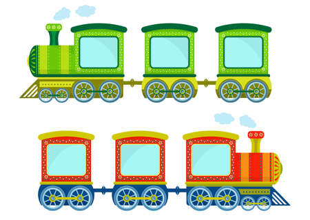 Toy trains, colorful locomotive and wagons. Contain text or image space.