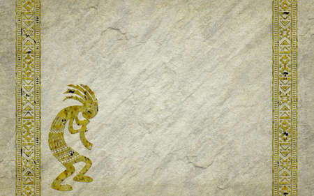Traditional American Indian borders and kokopelli silhouette on realistic stone background. Aged and grunge effects.