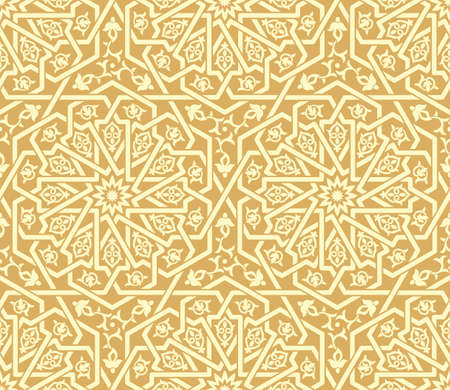 Seamless golden Islamic pattern. Traditional oriental graphic style. Interlacing lines. Floral elements. Ilustração