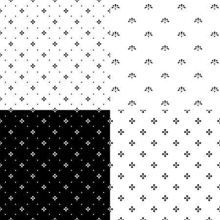 Set of black and white seamless patterns with simple abstract flower elements. Samples added to swatch panel.