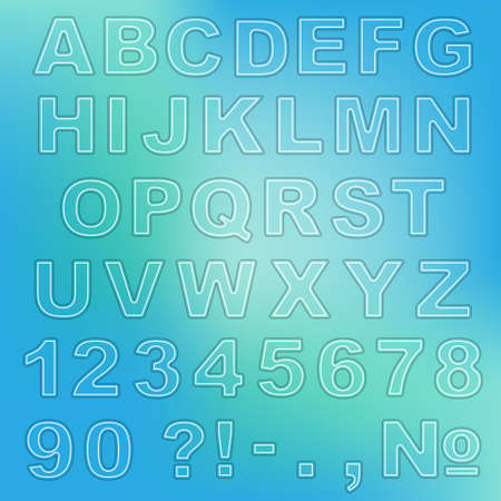 Alphabet, numbers, and punctuation marks. Colorful bold transparent letters with paper cut and shadow effect. Aquamarine background. Ilustração