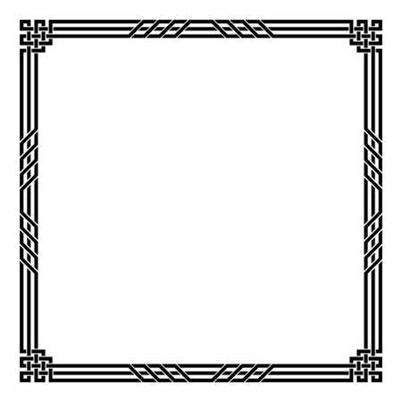 Black geometric square framework. Celtic style. Interlaced lines and knots.