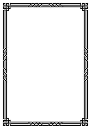 Black geometric rectangular framework. Celtic style. Interlaced lines and knots. A3, A4 page size.