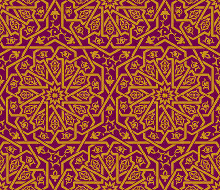 Seamless golden Islamic pattern, ruby red backdrop. Traditional oriental graphic style. Interlacing lines. Floral elements.