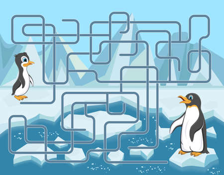 Maze game with penguins on ice floes. Help the baby penguin to get to its mother. Ilustração