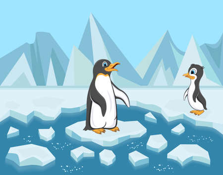 Cartoon penguins on ice floes. Baby penguin and its mother.