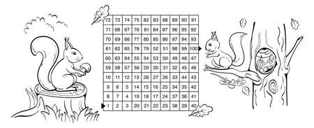 Mathematical maze game with squirrels. Help the squirrel to bring the mushroom to the hollow on oak. Complete the maze from 1 to 100. Coloring page. Black sketch.