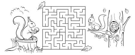 Maze game with squirrels. Help the squirrel to bring the mushroom to the hollow on oak. Black sketch. Coloring page.