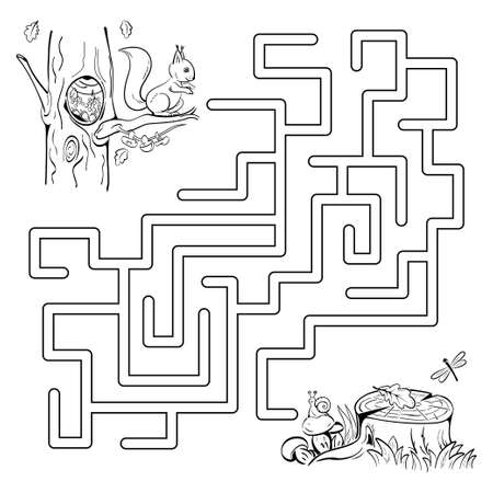 Maze game with a squirrel. Help the little squirrel to get to the mushrooms by the old tree stump. Black sketch. Coloring page. Ilustração