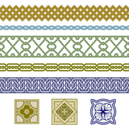 Set of seamless borders and floral corner elements. Interlaced lines. Based on Georgian, Armenian, Arabic, Celtic styles. Pattern brushes included in EPS file.