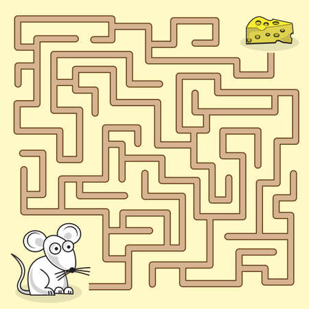 Maze game with mouse and a piece of cheese. Ilustração