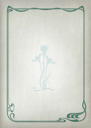 Decorative framework and flower on realistic background. Imitation of parchment. Art Nouveau style of 1920s. A3 page size.