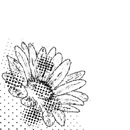 Flower, petals. Black on white background. Halftone, grunge and chalk effects. Print for t-shirt.