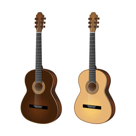 Illustration of two Acoustic guitar, different colors. Musical instruments.