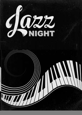 Poster for Jazz festival or concert. Stylized piano keys and stave. Lettering Jazz night. Music background, template. Black and white colors. Shaded and dusty effects.