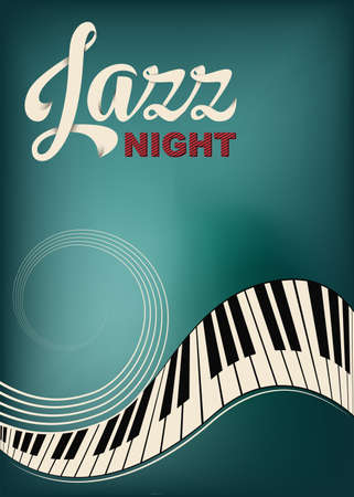 Poster for Jazz festival or concert. Stylized piano keys and stave. Lettering Jazz night. Music background, template. Shaded and grunge effects. Ilustração