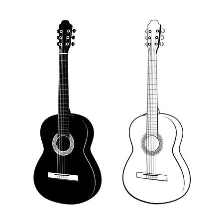 Black and white Acoustic guitars. Musical instruments.