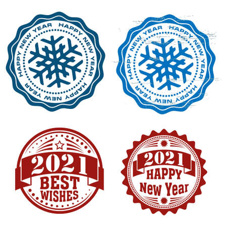 New Year round stamps with snowflakes and banners.