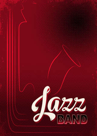 Poster for Jazz festival or concert. Lettering Jazz Band. Music background, dark red saturated template. Aged, halftone, 3D effects.