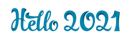 Lettering Hello 2021. Blue hand-written letters with shadows and interlaced lines. Gradients used.