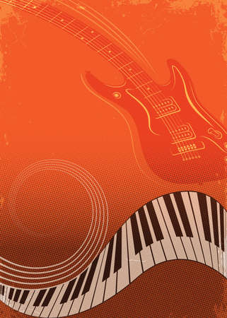 Poster for musical festival or concert. Piano and guitar. Music background, orange saturated template. Grunge, halftone effects. Banco de Imagens