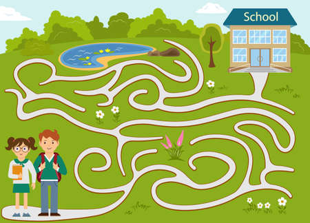 Maze game for children. Kids going to school. Help the kids to choose the right way to school. Vektorové ilustrace