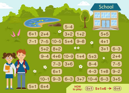 Mathematical maze for children. Kids going to school. Help the kids to choose the right way to school. Addition and subtraction up to 10.