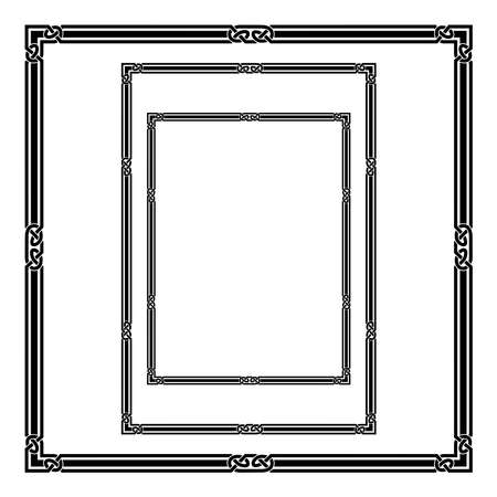 Set of black frames, Celtic, Arabic style. A3, A4, Letter proportions, square frames. Celtic knots, overlapping lines.