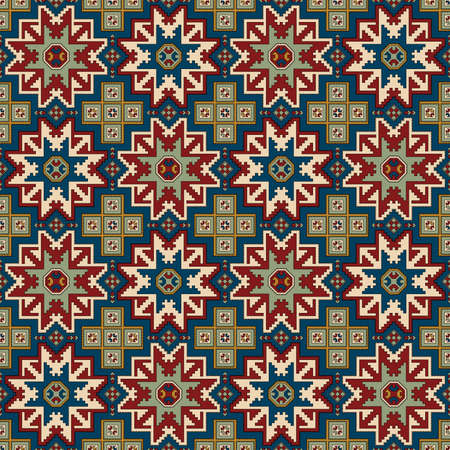 Ethnic geometric seamless pattern with star motif. Northeast Caucasian pattern. Sample is included in swatches panel.