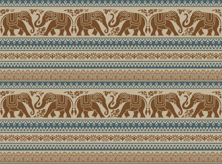 Seamless pattern with decorative elephants, flowers and borders. Southeast Asian, African style. Ilustração