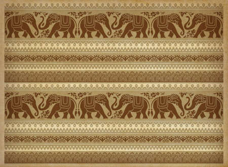 Decorative elephants, flowers and borders. Southeast Asian, African style. Pattern on aged parchment backdrop.