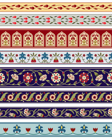 Seamless borders with various whimsical flowers. Central Asian, Suzani style. Pattern brushes included.