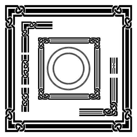 Set of black frames, Celtic, Arabic style. Round and square frames, corner and border elements. Celtic knots, overlapping lines. Pattern brushes.