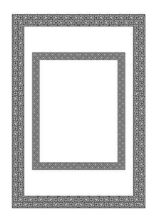 Rectangular geometric frames. Antic Greek style. A3, Letter proportions. Ilustração