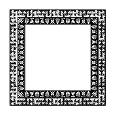 Square decorative frame. Antic Greek style. Floral elements, vignettes. Black and white.