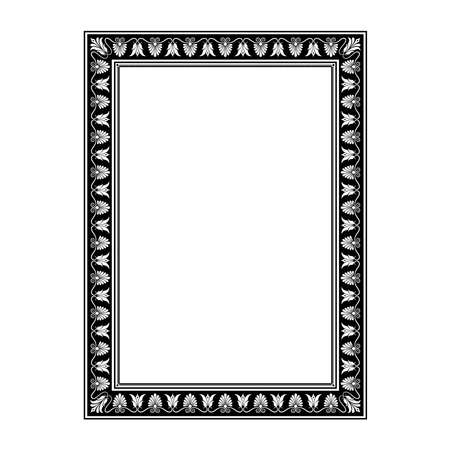 Rectangular decorative frame. Antic Greek style. Floral elements, vignettes. Black and white.