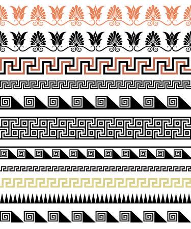 Set of ethnic seamless borders. Antic Greek style. Ilustração