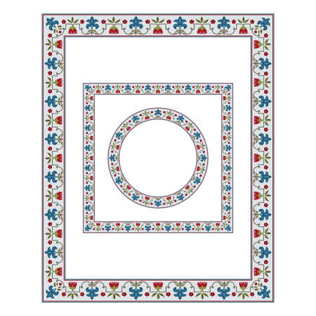 Frames of various shapes with whimsical flowers. Central Asian, Near East style. Pattern brush with a corner element included. Suzani.