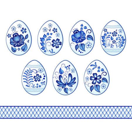 Set of colorful Easter eggs. Decorated with Gzhel, Russian traditional painted floral pattern. Seamless pattern brush.
