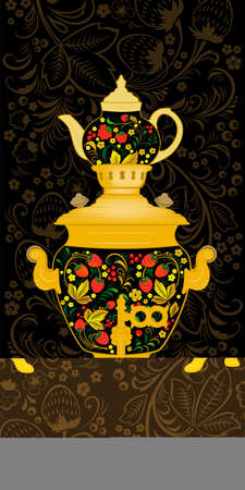 Samovar and a teapot. Decorated with Khokhloma, Russian traditional painted floral pattern. Seamless border, Khokhloma style. Ilustração