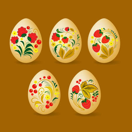 Set of colorful Easter eggs. Decorated with Khokhloma, Russian traditional painted floral pattern. Ilustração
