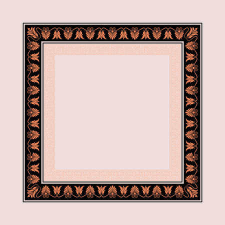 Square decorative frame. Antic Greek style. Floral elements, vignettes. Ilustração