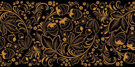 Khokhloma, Russian traditional painted floral pattern. Seamless border. Monochrome pattern on black background.