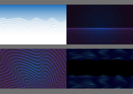Set of backgrounds with wavy lines. Gradients used. Ilustração